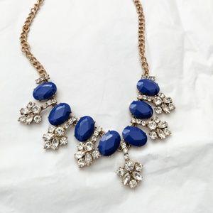 3/$15 J. Crew Statement Necklace Blue Diamond Gold